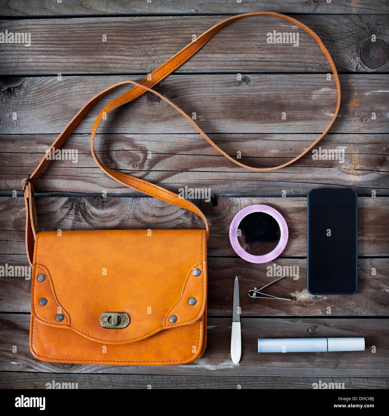 woman bag stuff, handbag - Stock Image