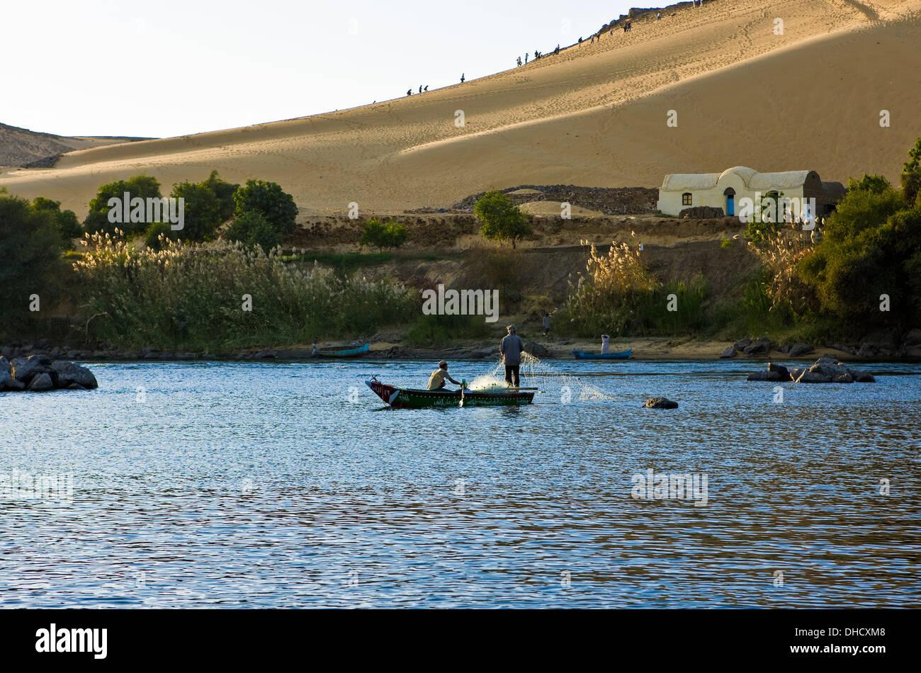 Africa Egypt, Aswan,fishermen on the Nile river - Stock Image