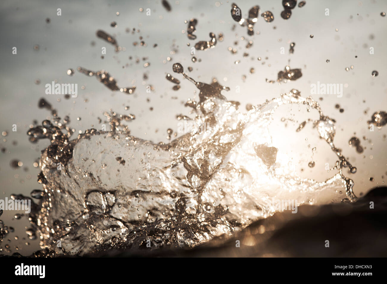 Croatia, Mediterranean Sea, ocean, water splash - Stock Image