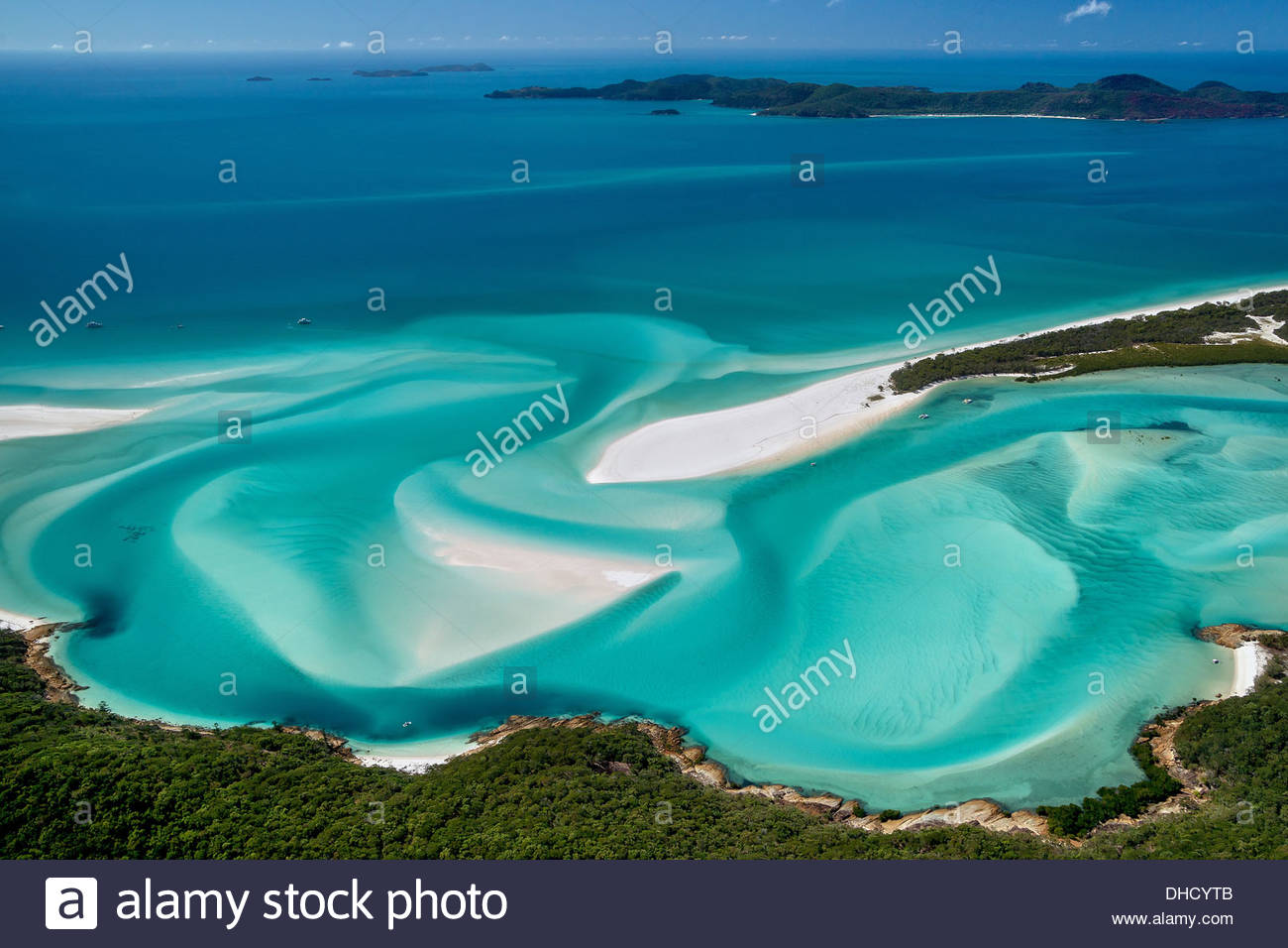 Hill Inlet and whitehaven beach on Whitsunday Island - Whitsundays - Australia - Stock Image