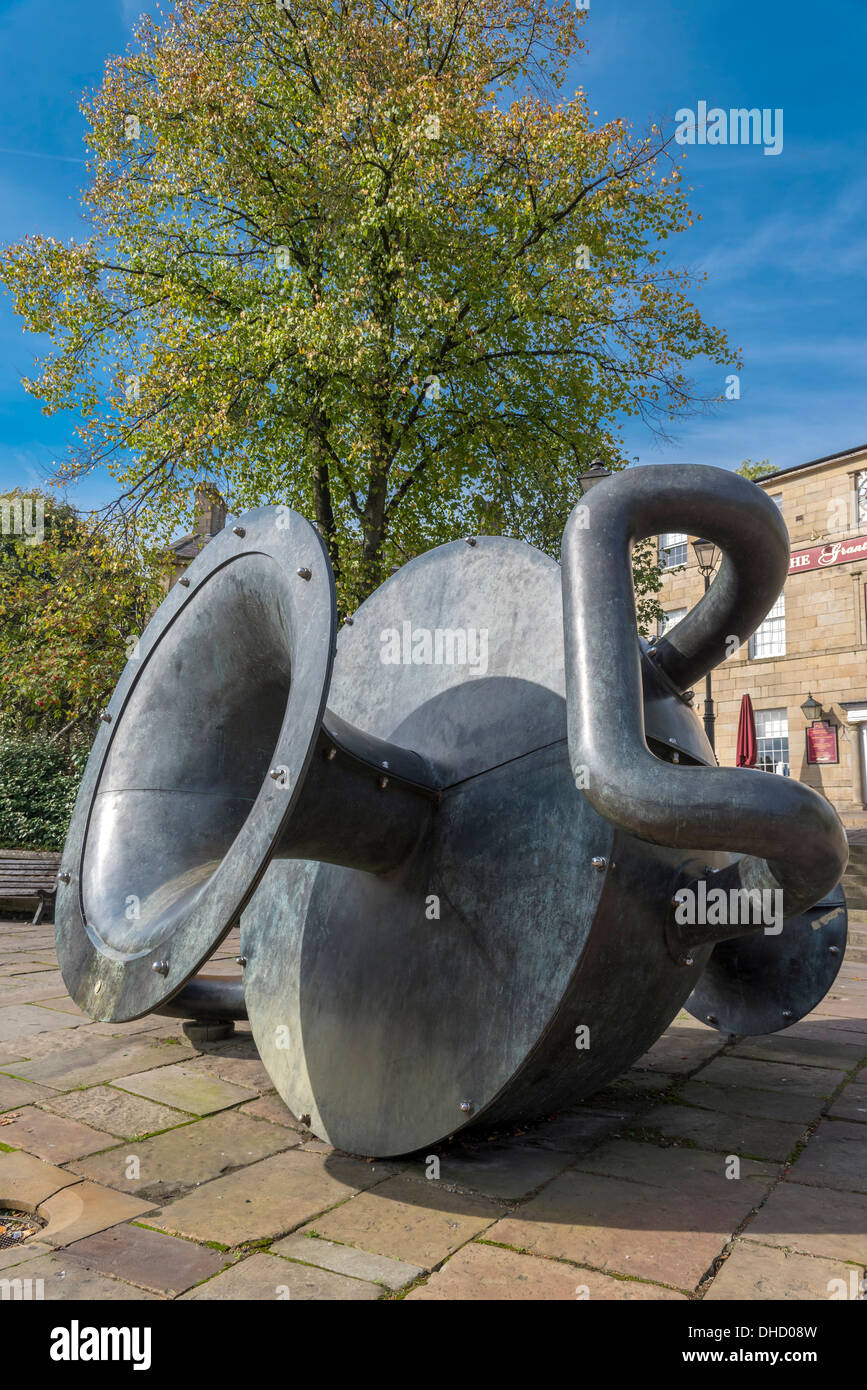 A large jug monument of public art on the Market Place in the centre of Ramsbottom - Stock Image