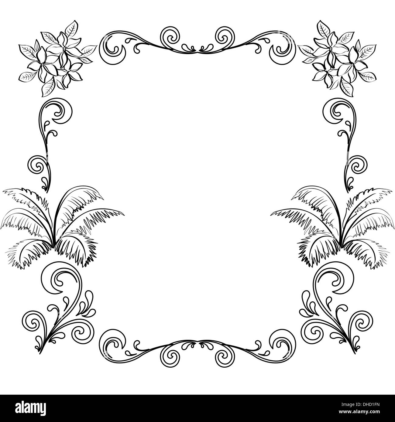 Abstract Floral Background Outline Stock Photo 62366857
