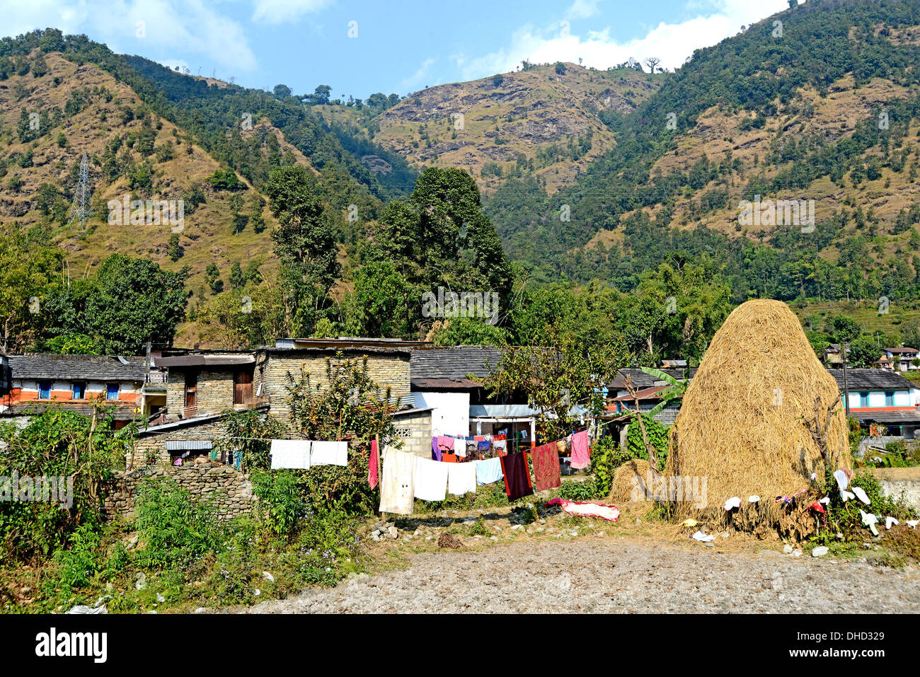 countryside haystack Pokhara valley Nepal - Stock Image