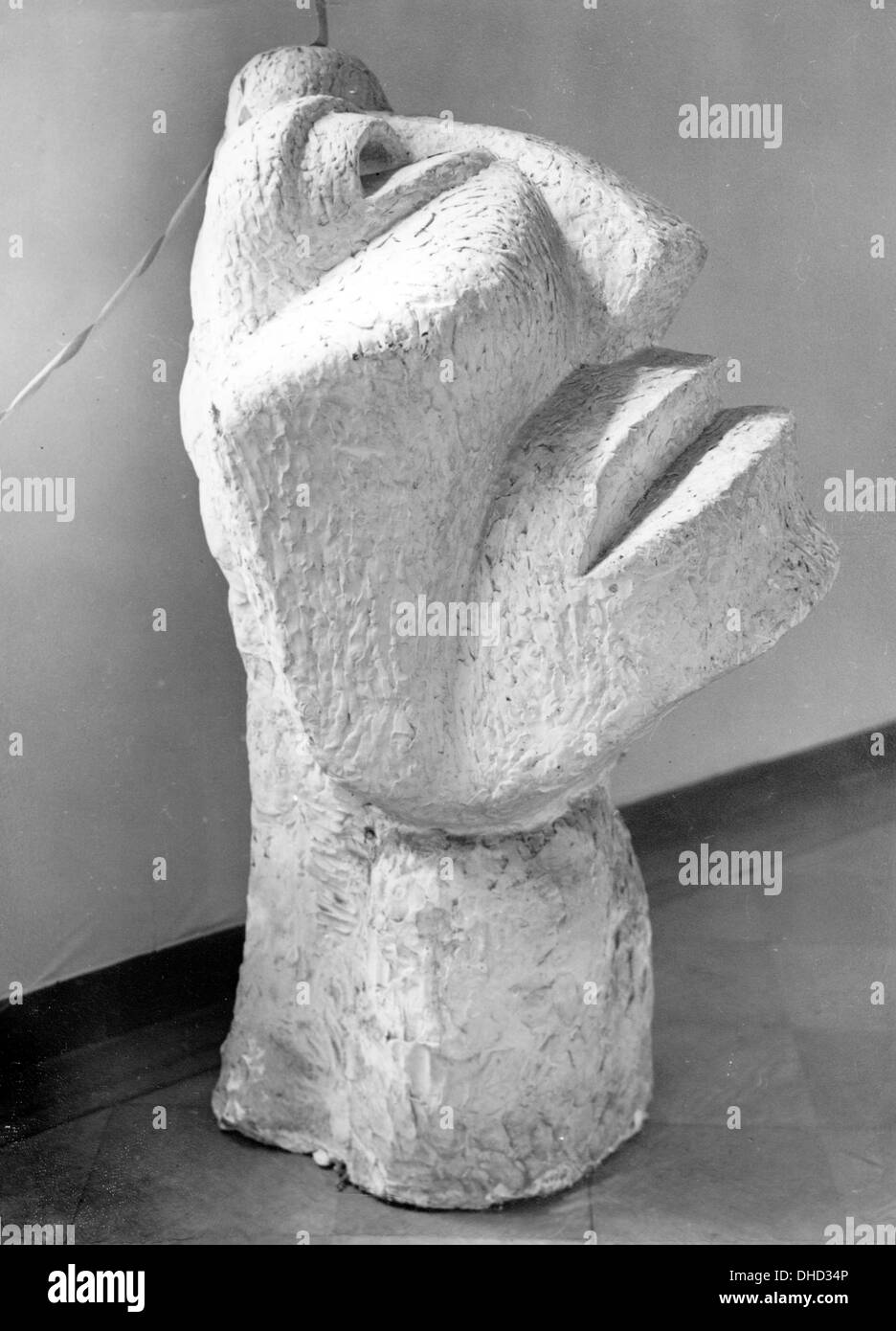 A National Socialist propaganda picture shows the sculpture 'Large Head (The New Man)' by Otto Freundlich at the Stock Photo