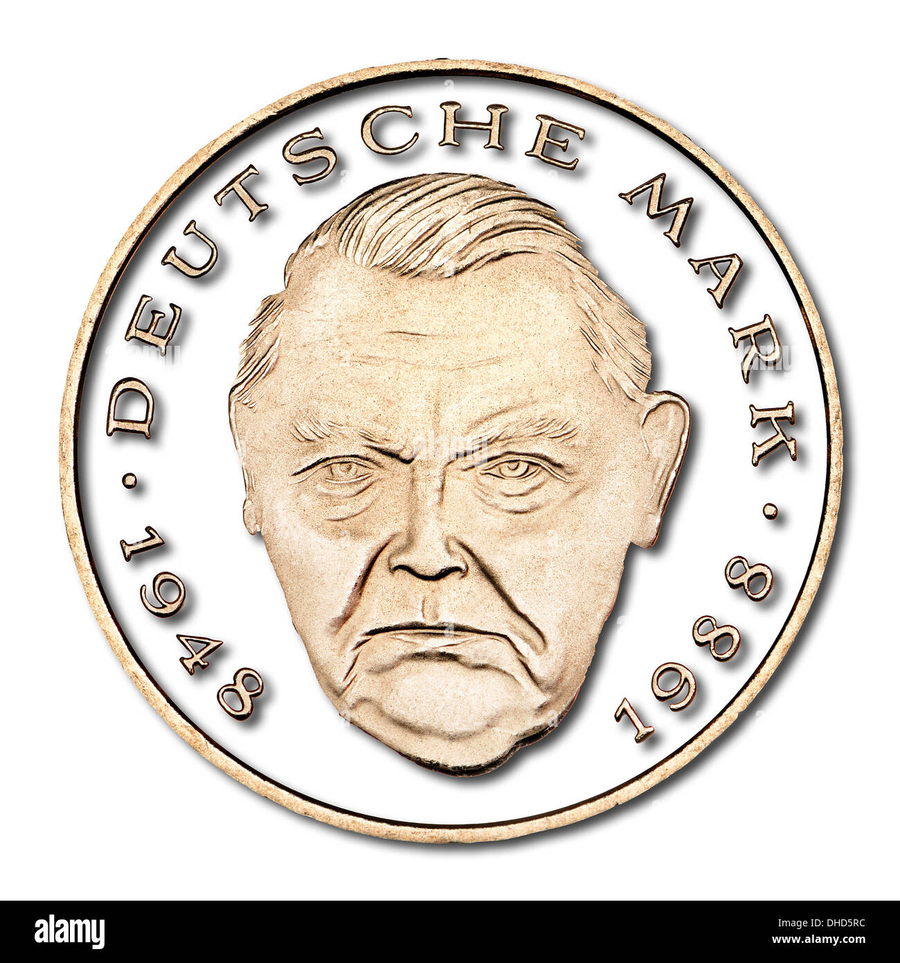 German 2 Deutschmark coin of 1997 - Portrait of Ludwig Wilhelm Erhard , German Chancellor 1963-66, from German 2 Mark coin - Stock Image