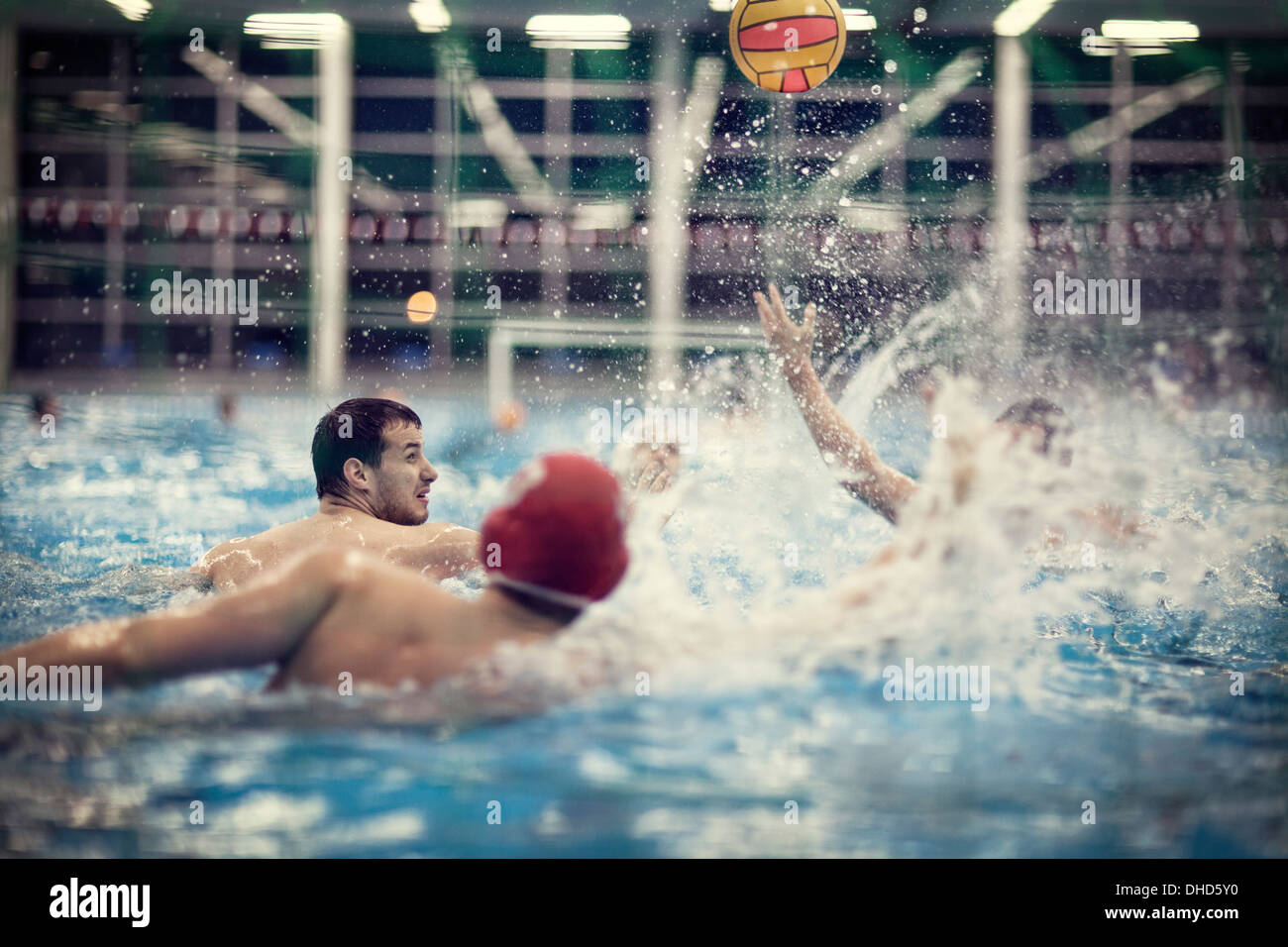 Water polo players in water - Stock Image