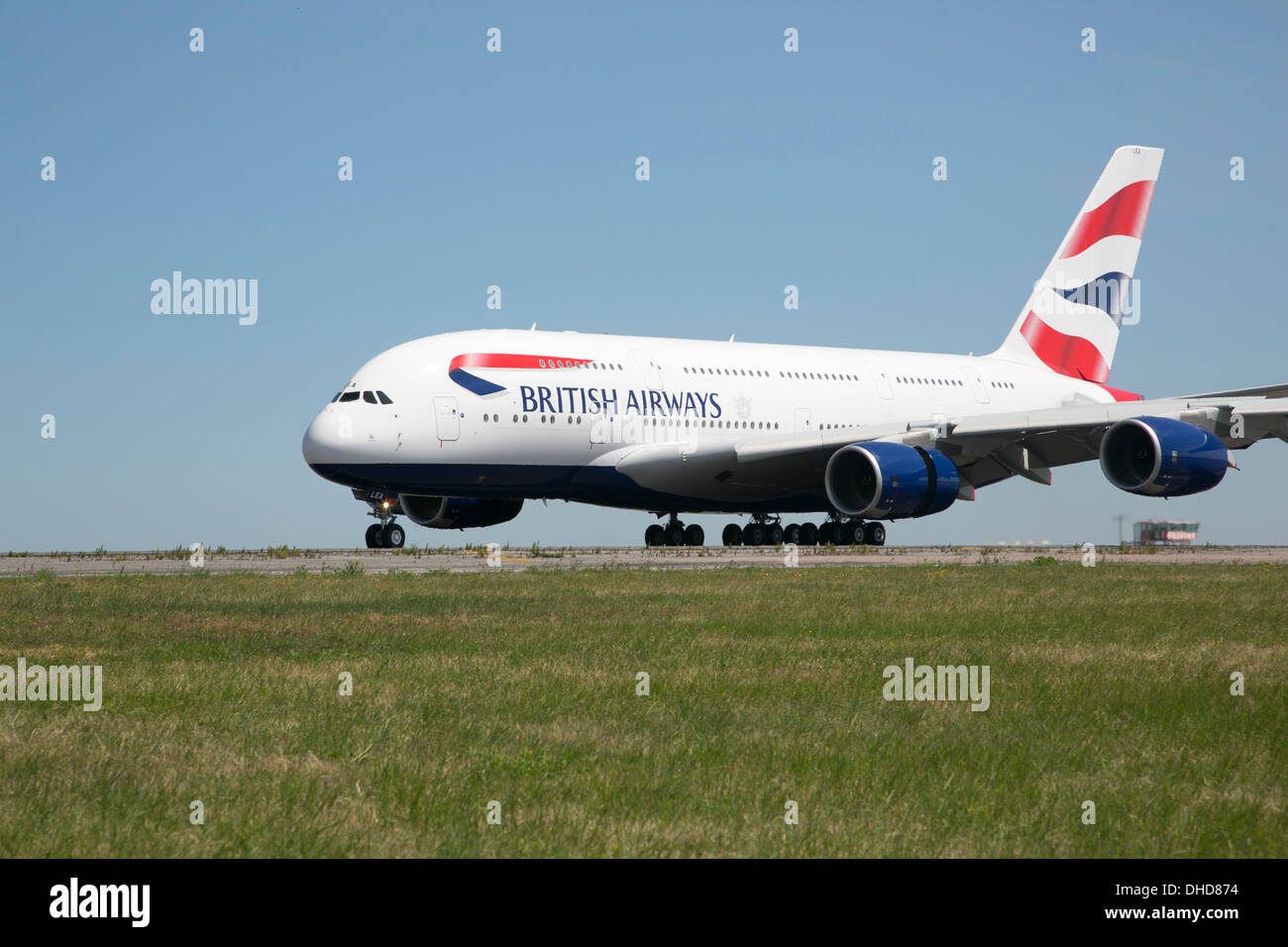 Airbus A380 with British Airways livery on runway at Manston Airport, Kent, England, UK - Stock Image