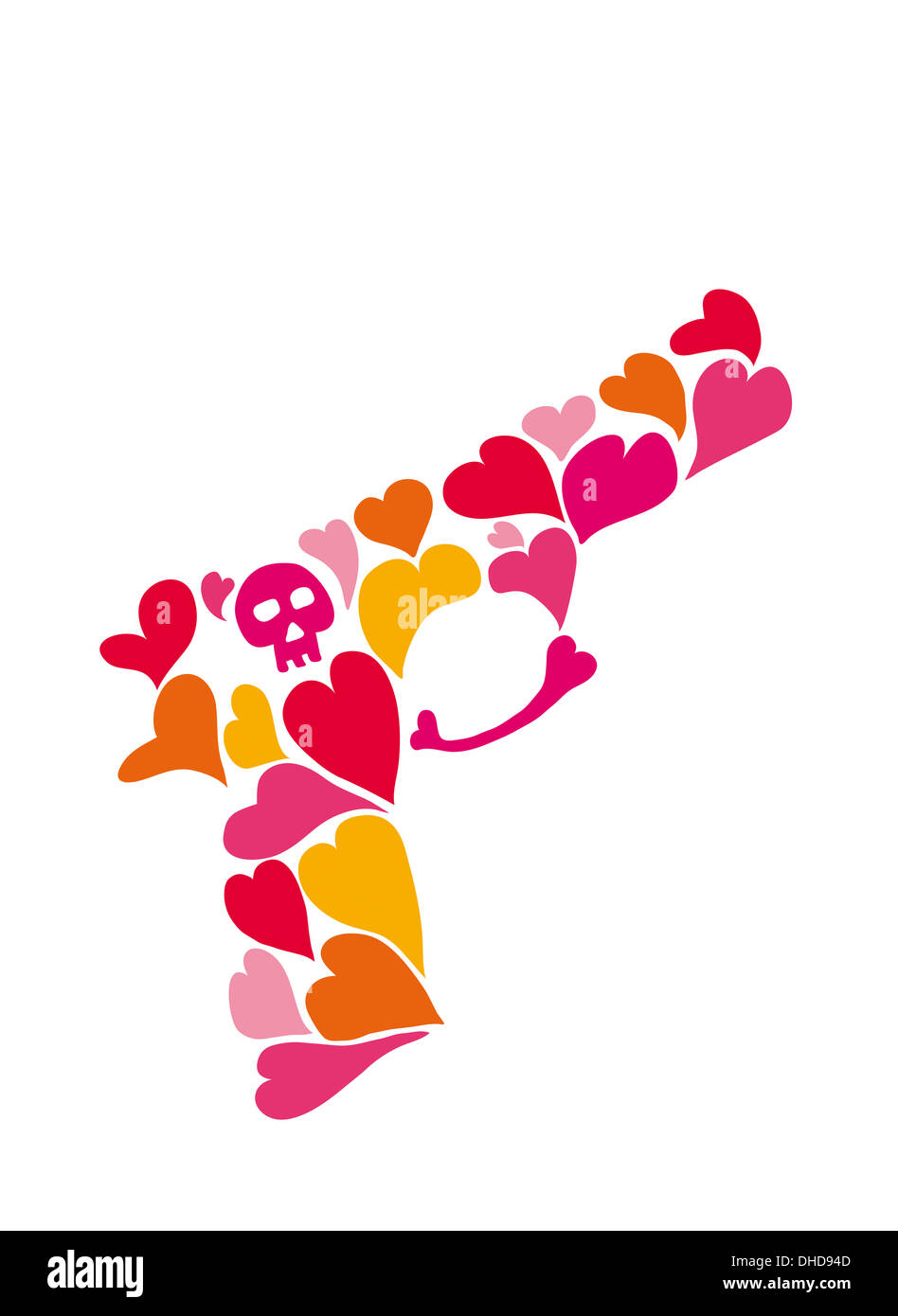Love gun with hearts and a skull - Stock Image