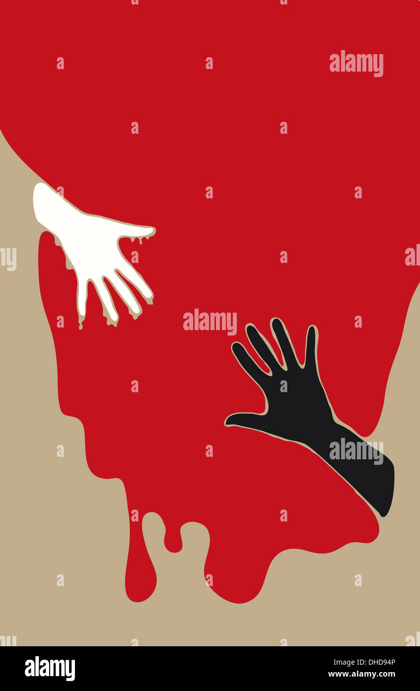 Conceptual illustration of reaching out and trying to save another human. - Stock Image