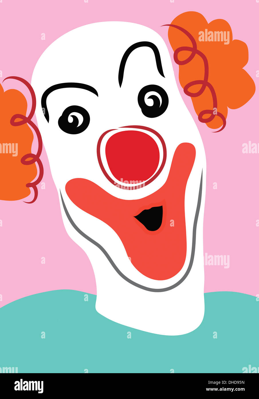 Happy clown with white face mask and red nose on pink background - Stock Image