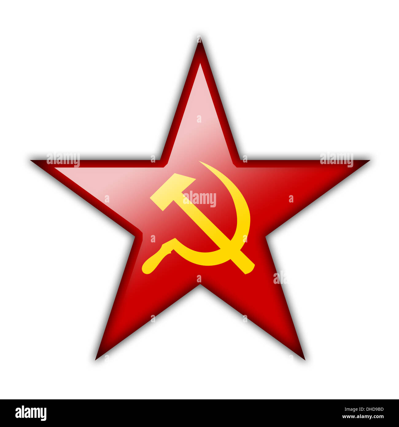 Glossy icon in the shape of the red star Stock Photo