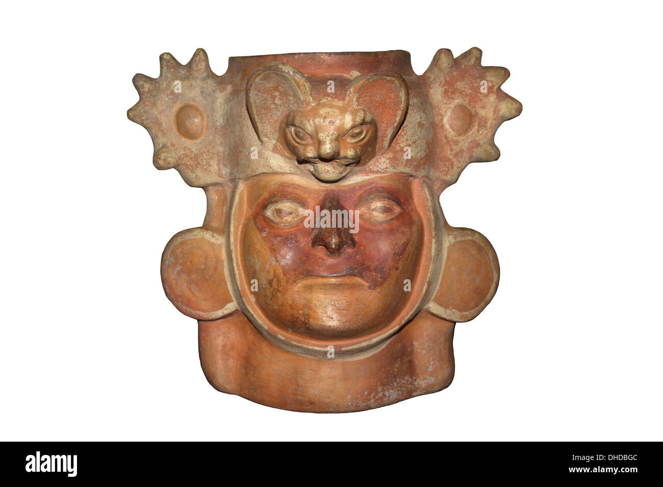Moche Pottery Of A Man Wearing A Batskin Headdress Which May Represent A Folk Healer - Stock Image