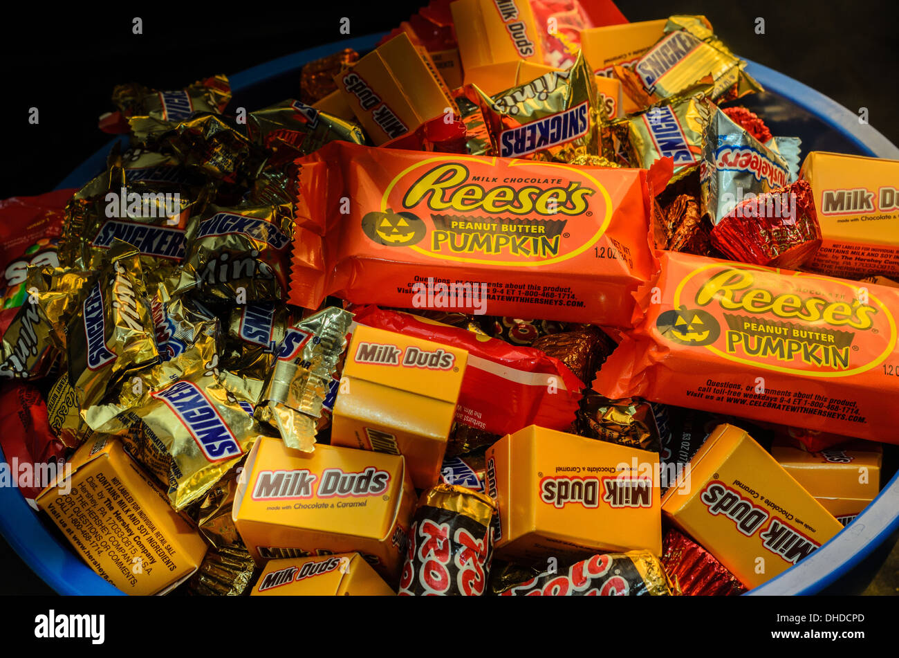Bowl of Halloween Candy - Stock Image