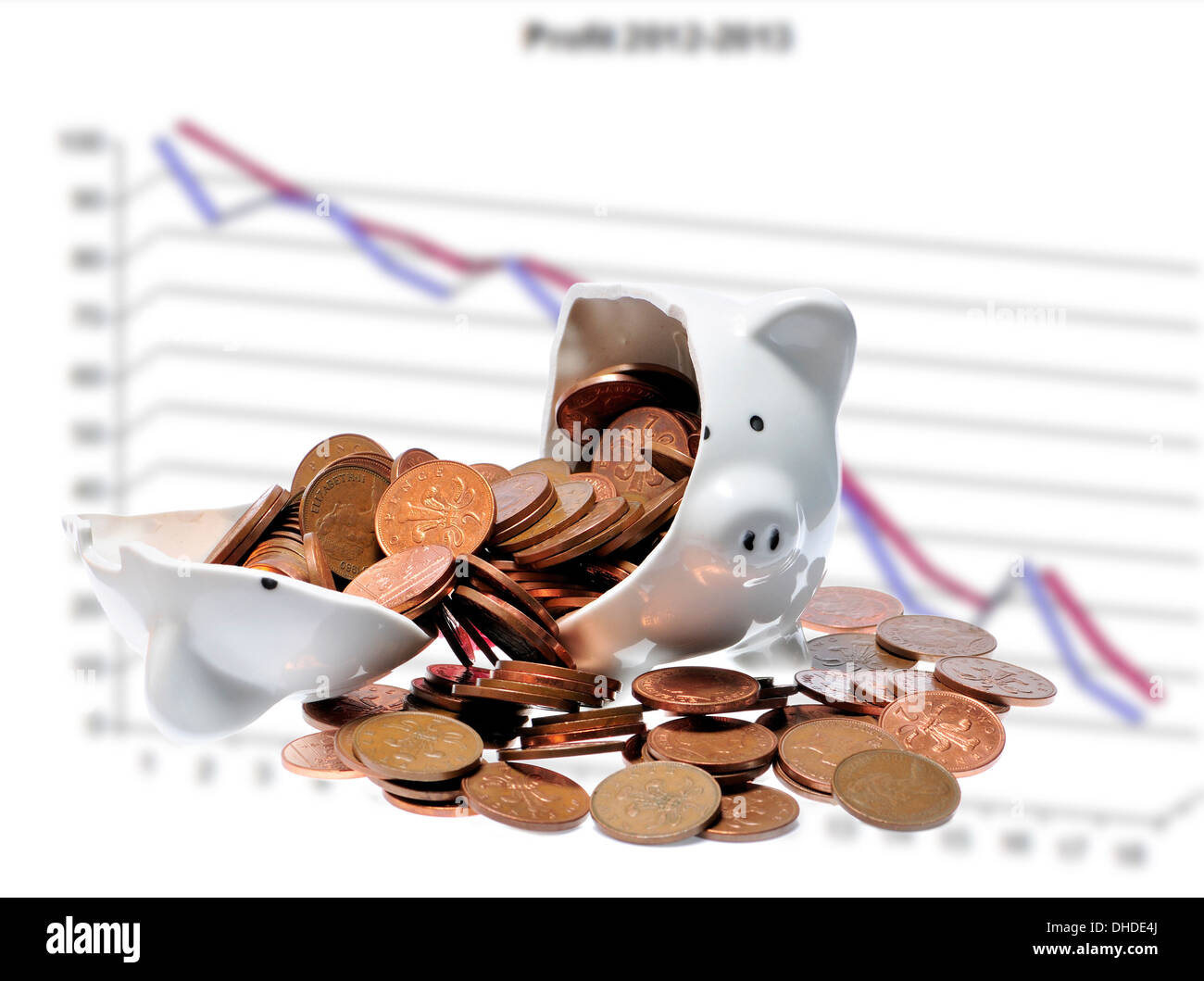 Broken piggy bank - falling graph - Stock Image