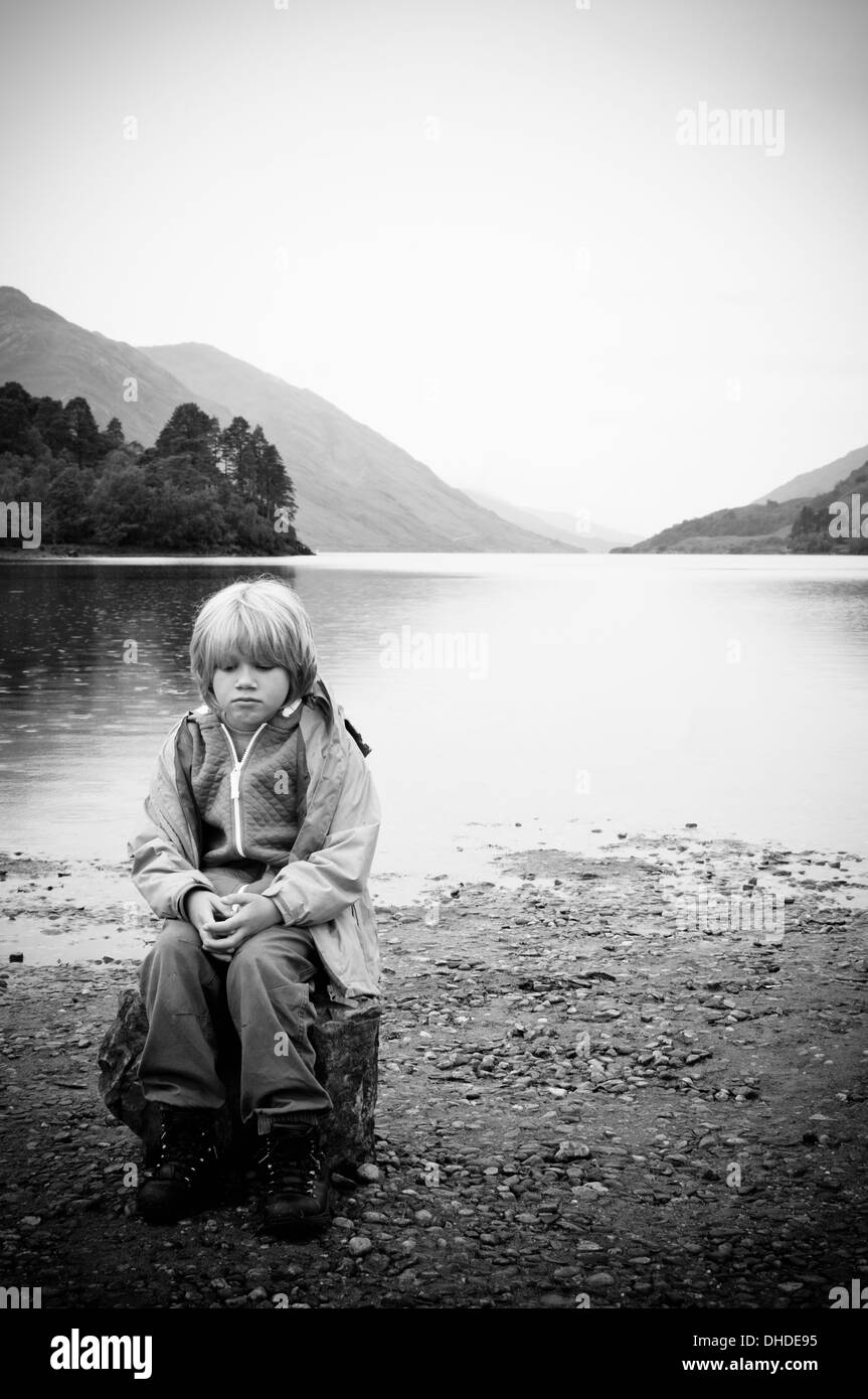Lonely boy stock image