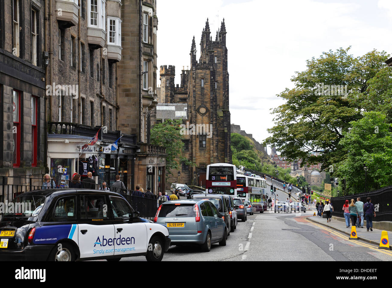 View West along North Bank Street in Edinburgh city centre, Scotland, UK Stock Photo