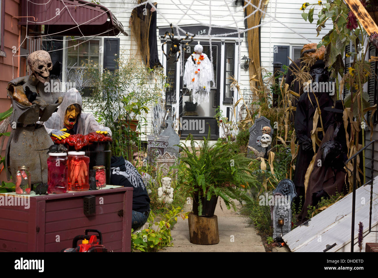 halloween decorations in the front garden of a house in salem stock