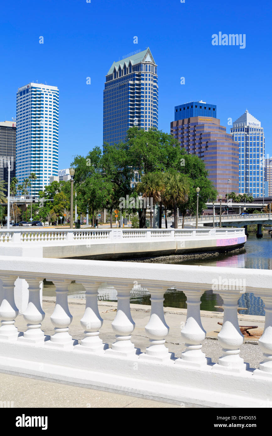 Tampa skyline and Linear Park, Tampa, Florida, United States of America, North America - Stock Image