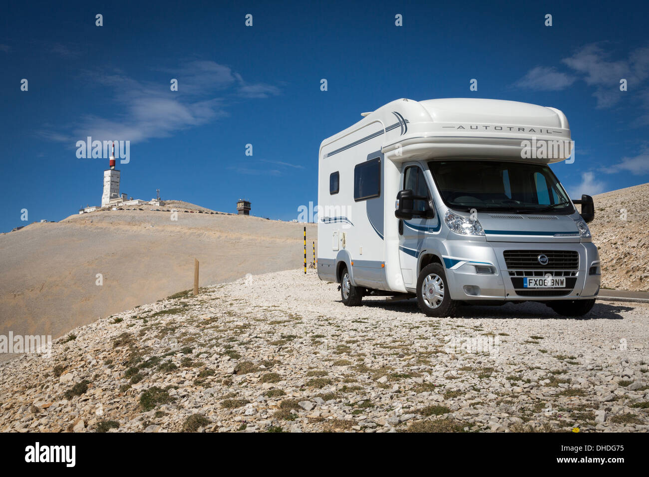 Motorhome near the summit of Mont Ventoux, France, Europe. - Stock Image