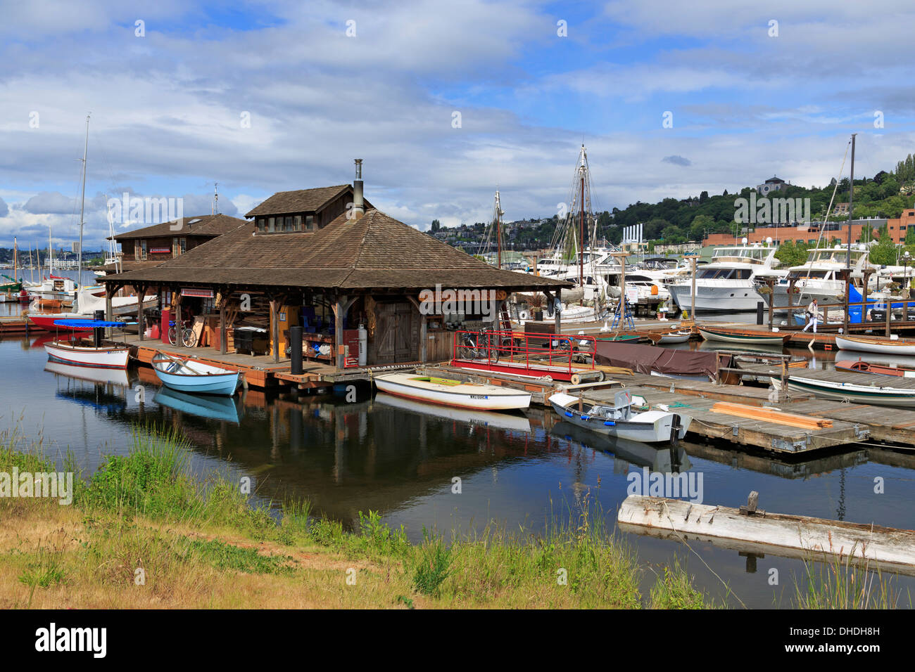 Center for Wooden Boats, Lake Union Park, Seattle, Washington State, United States of America, North America - Stock Image