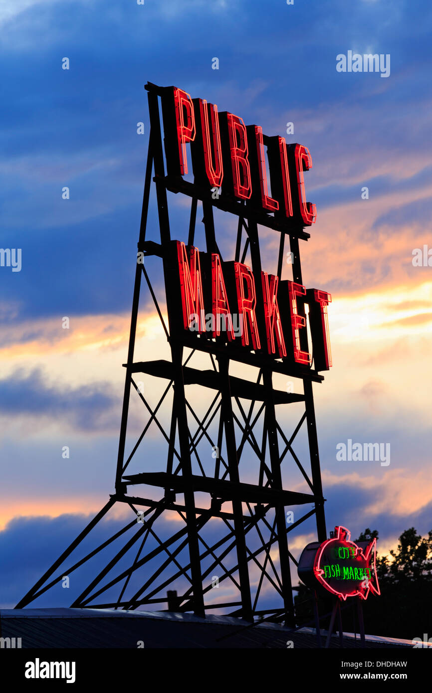 Pike Place Market, Seattle, Washington State, United States of America, North America - Stock Image