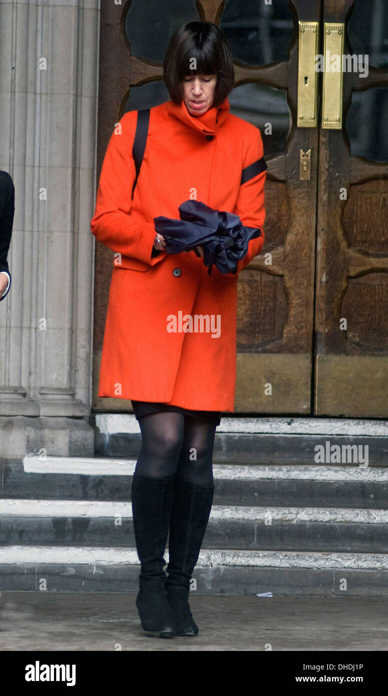 Carina Trimingham (R) leaves Royal Courts of Justice after a hearing in her case against Associated Newspapers London England - - Stock Image