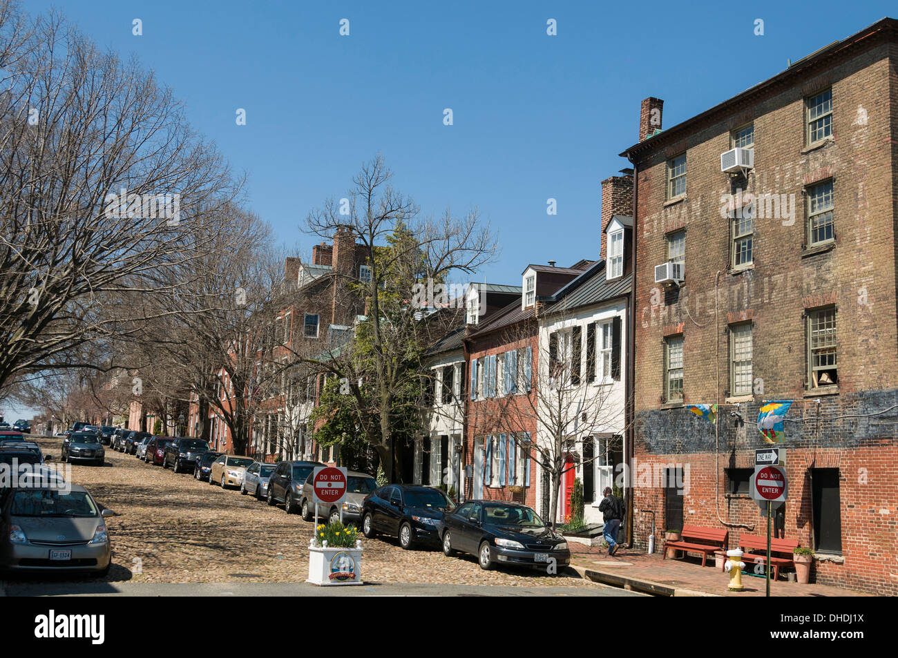 Prince Street also known as Captains Row in Old Town, Alexandria, Virginia, United States of America, North America - Stock Image