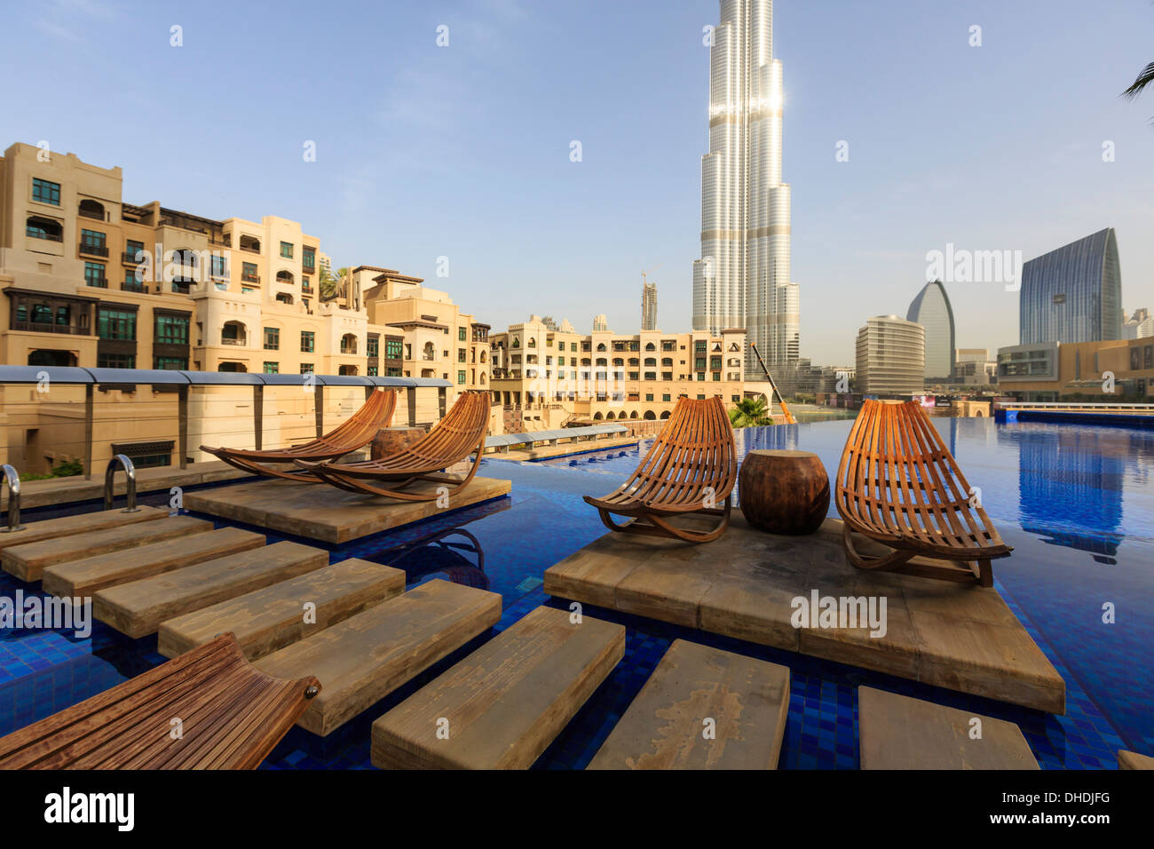Burj Khalifa Seen From Hotel Swimming Pool Dubai United Arab Stock Photo 62380180 Alamy