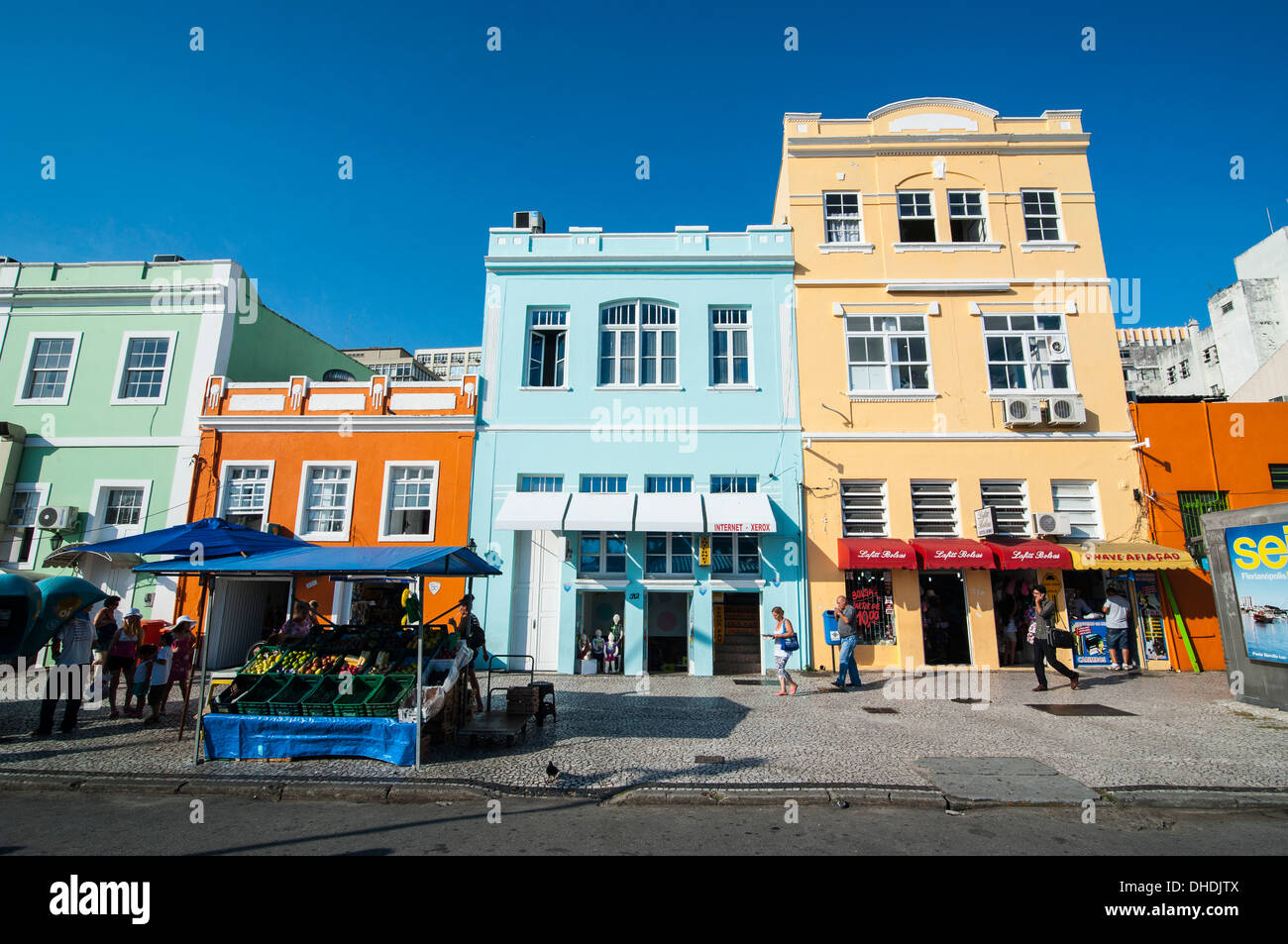 Colourful houses in Florianopolis, Santa Catarina State, Brazil - Stock Image