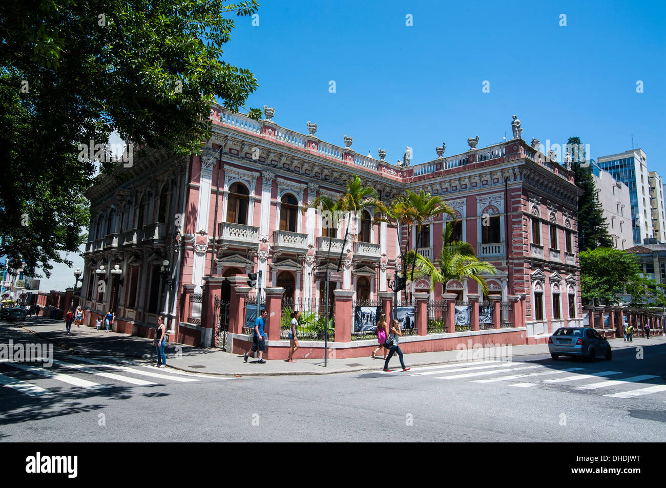 Facade of the Cruz e Sousa Palace in Florianopolis, Santa Catarina State, Brazil - Stock Image