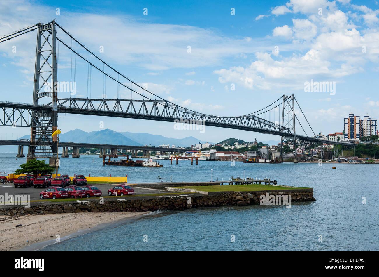 Bridge linking Florianopolis on Ilha Catarina (Santa Catarina Island) with the Continent, Santa Catarina State, Stock Photo