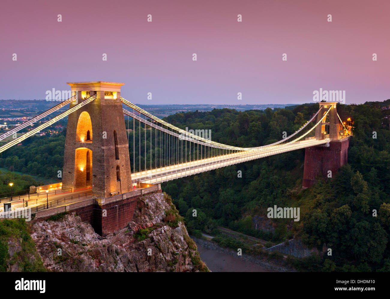 Clifton suspension bridge illuminated at night sunset clifton downs Bristol Avon South West England UK GB EU Europe - Stock Image