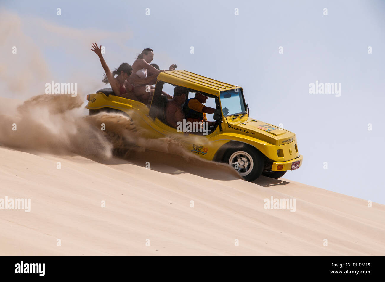 Riding down the sand with sand buggies in Natal, Rio Grande do Norte, Brazil - Stock Image