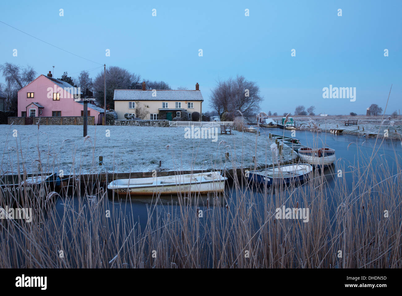 An early morning winter view of West Somerton Staithe, Norfolk, England, United Kingdom, Europe - Stock Image