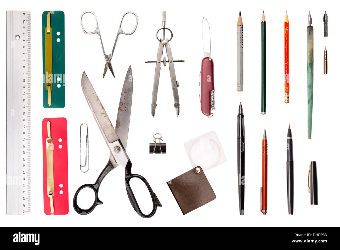 office drawing tools. Collection Of Old Used Office, Drawing Tools, Isolated On White. Office Tools I