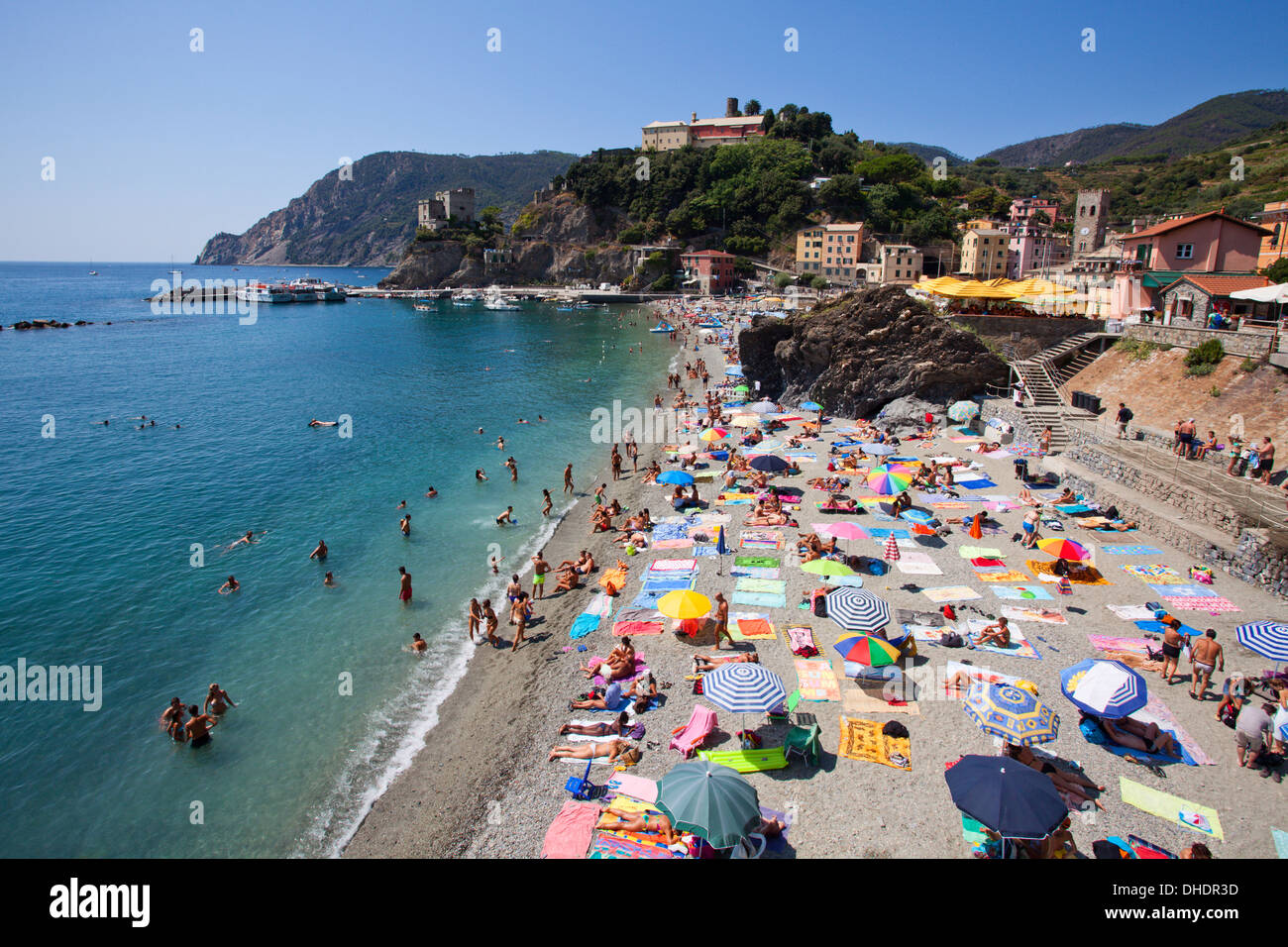 The Free Beach in the Old Town at Monterosso al Mare, Cinque Terre, UNESCO World Heritage Site, Liguria, Italy, Mediterranean - Stock Image