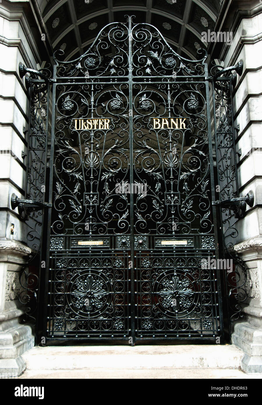 The Black Metal Gate To A Bank; Dublin, Ireland - Stock Image