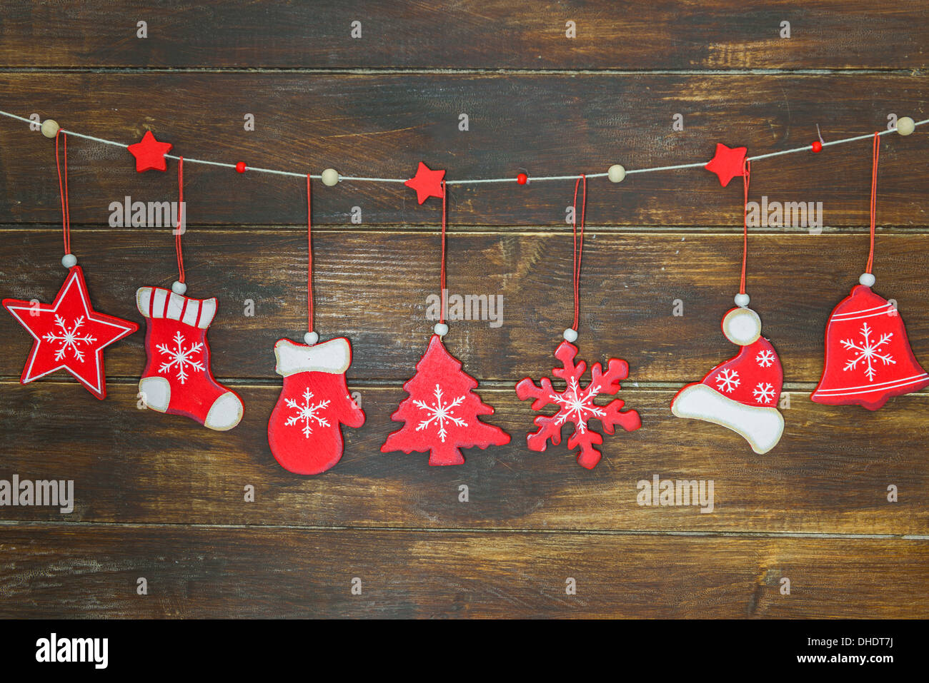 rustic shabby chic christmas decorations hanging on brown wooden board stock image - Chic Christmas Decorations