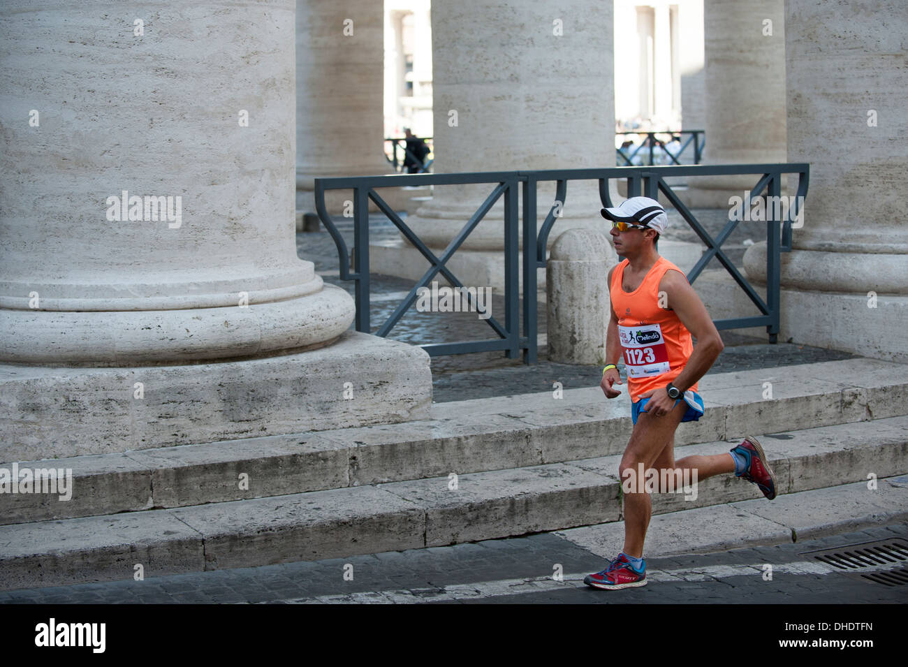 Athlete do warm up before race in Vatican city - Stock Image