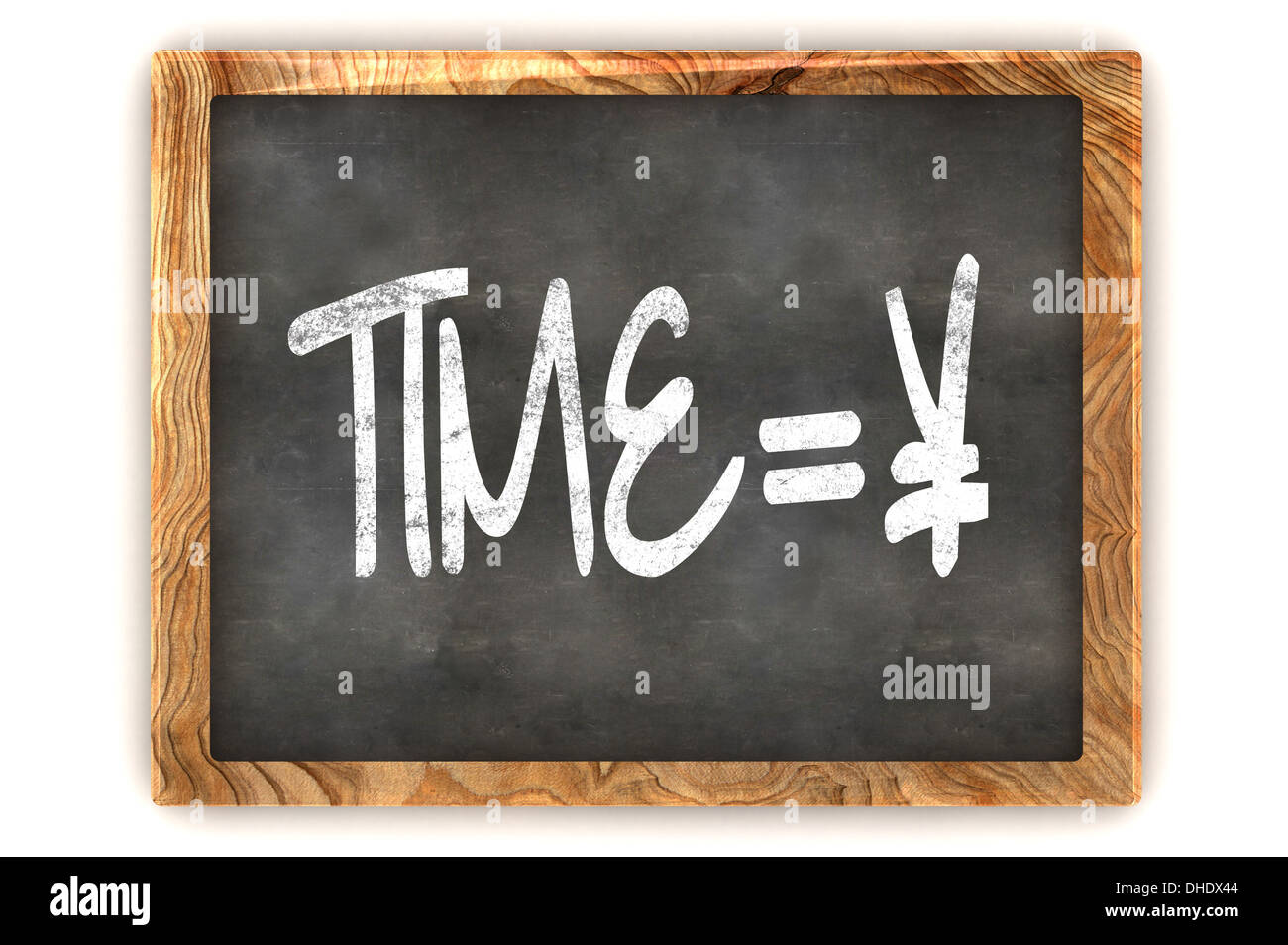 A Colourful 3d Rendered Blackboard Concept of Time = Money Yen Stock Photo
