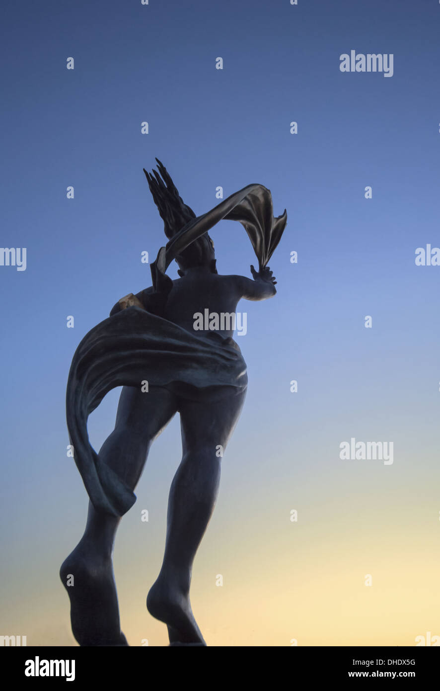 Low Angle View Of The Spirit Of South Shields Statue At Sunset; South Shields, Tyne And Wear, England Stock Photo