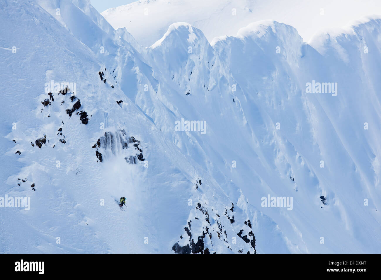 Backcountry Skiing In The Chugach Mountains In Late Winter; Southcentral Alaska, United States Of America - Stock Image