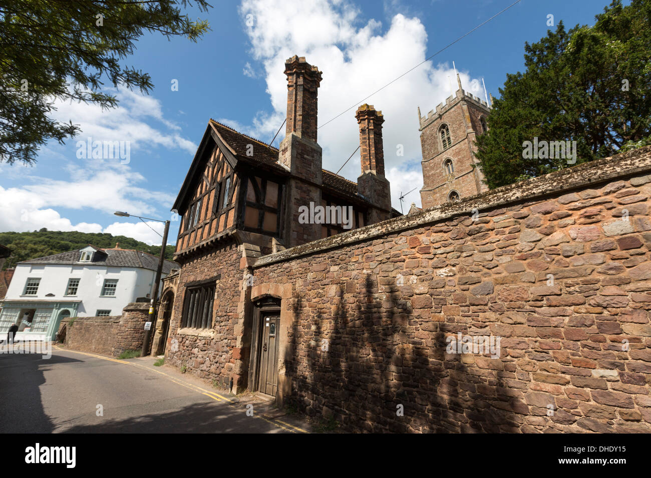 Church Street and the Priory Church of St George and a historic Grade II listed house. - Stock Image