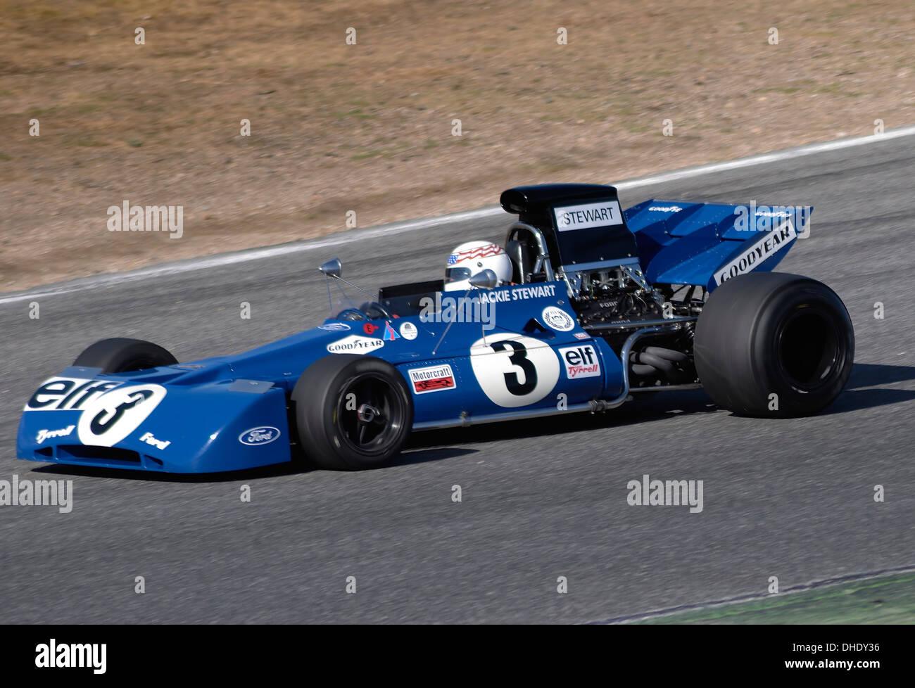 "Jarama Vintage Festival  october 2011. Sir John Young ""Jackie"" Stewart Tyrrell F1. Jarama circuit, Madrid, Spain. Stock Photo"