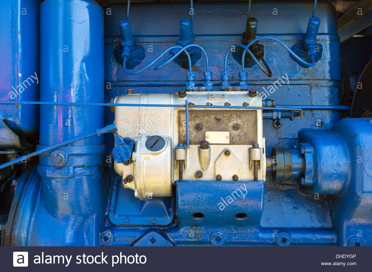 Diesel fuel injectors and injection pump from a 1954 Sift TD4 vintage tractor Stock Photo