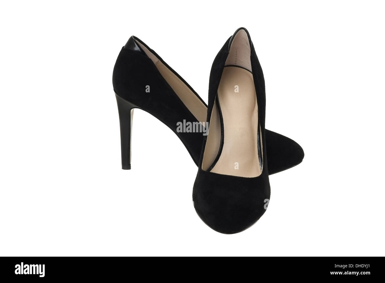 Ladies black high heel stiletto shoes - studio shot with a white background - Stock Image