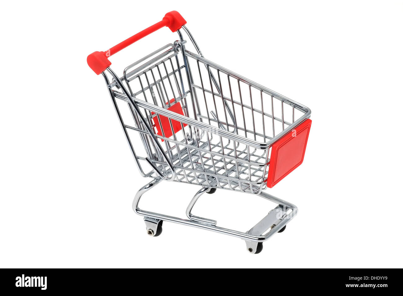 Empty shopping trolley cart - studio shot with a white background - Stock Image