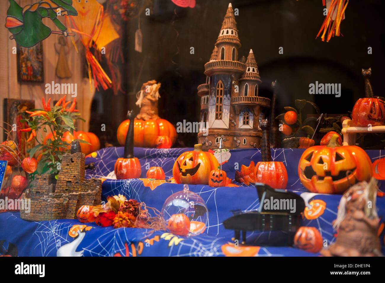 pumpkins and castle in shop window exposure - Stock Image