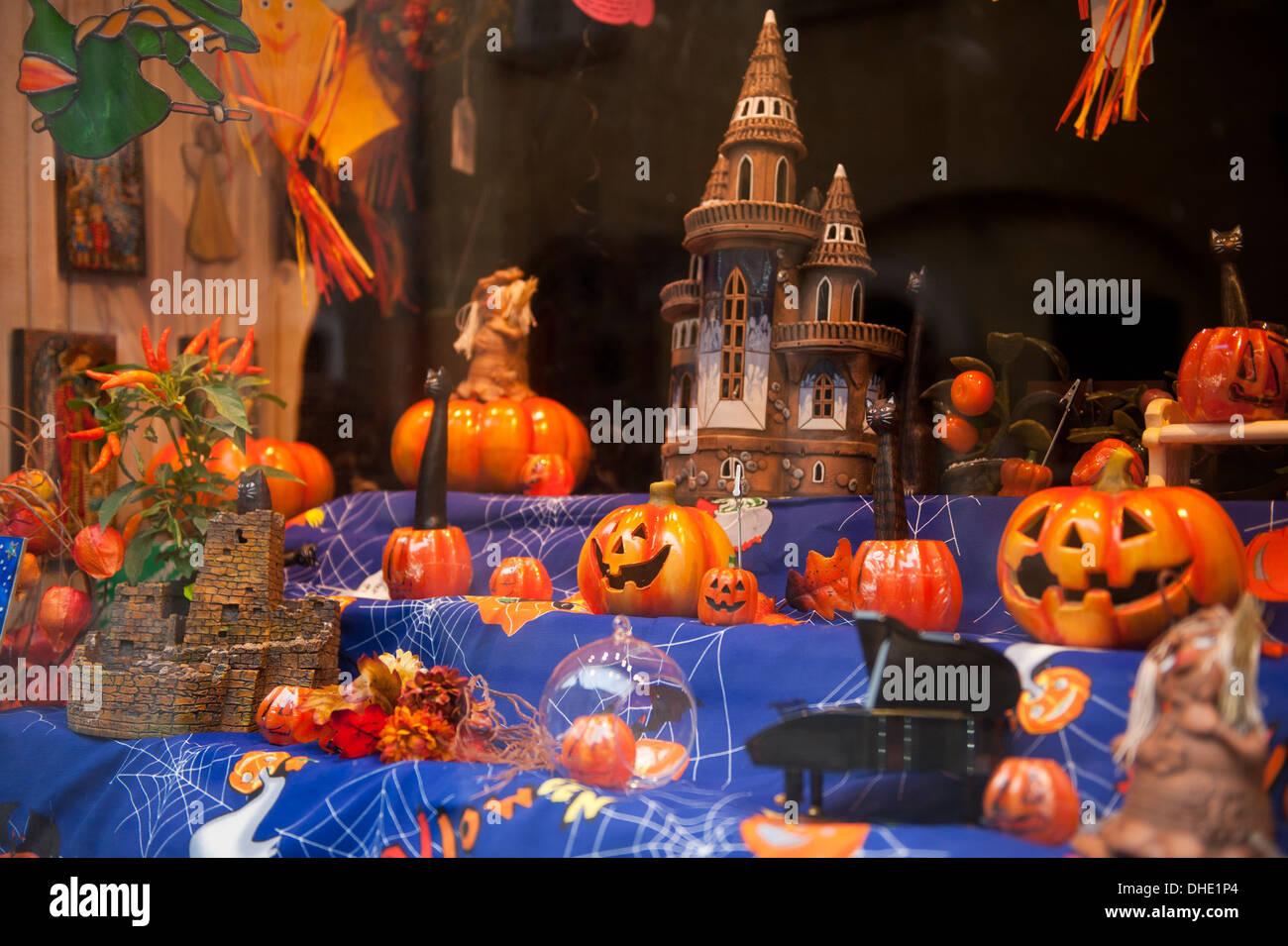 pumpkins and castle in shop window exposure Stock Photo