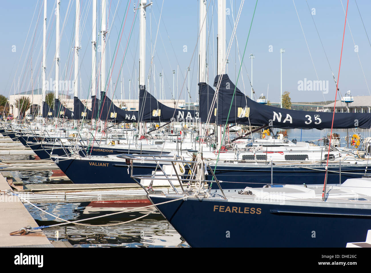 US Navy 44 foot sail training craft (Navy 44s) docked in Santee Basin at the US Naval Academy in Annapolis, Maryland. - Stock Image